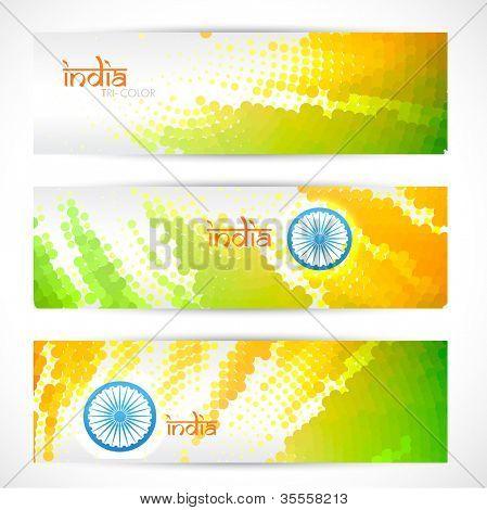 set of indian vector flag headers