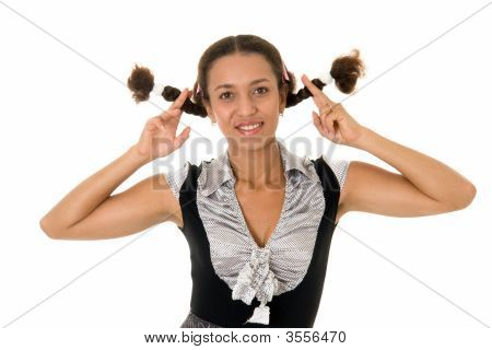 Woman With Pigtails