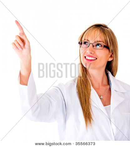 Doctor pressing a button on an imaginary screen - isolated over white