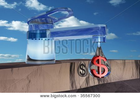 High resolution concept or conceptual abstract tap with drop falling over blue sky background as a metaphor for money,dollar,crisis ,finance,economy,waste,banking,busines s,loss,source,wealth or rich