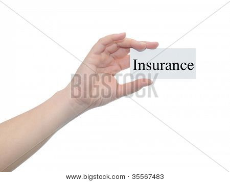 Concept or conceptual human or man hand isolated on white background holding a paper banner with a black text as a metaphor for business,management,marketing,vision,advice,goal,success or insurance
