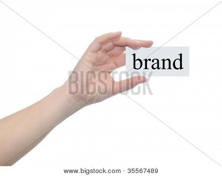 Concept or conceptual human or man hand isolated on white background holding a paper banner with a black text as a metaphor for business,management,marketing,vision,advice,goal,success or brand design