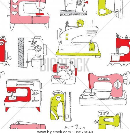 Seamless vintage sewing machine do it yourself background pattern in vector