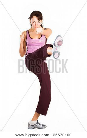 Young beautiful woman in fitness
