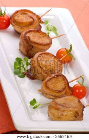 Bacon Wrapped Ginger Soy Scallops