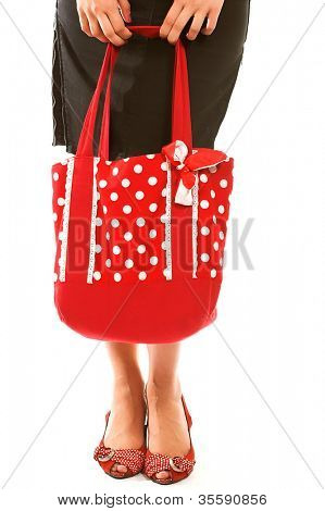 long legs  and red bag over whit