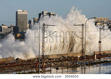 Coastal City Storm Waves