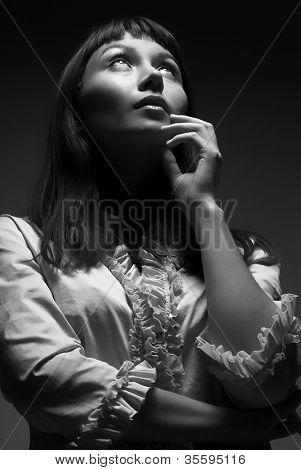 Woman looking to the future