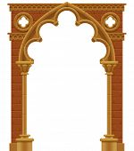 stock photo of entryway  - Vector isolated frame in form of the stone decorated gothic arch - JPG