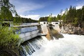 stock photo of hydro-electric  - A hydro electric plant on a river - JPG