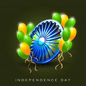 picture of asoka  - Indian Flag color concept with 3D Asoka wheel and balloon - JPG