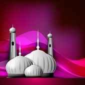 pic of kaba  - Shiny Mosque or Masjid on beautiful shiny pink background - JPG