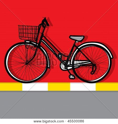 Bicycle - Hand Drawn And Color Background