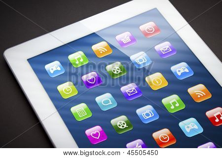 Touch screen tablet with apps