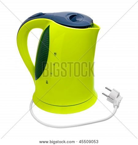 green electric kettle isolated on white background with clipping