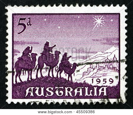 Postage Stamp Australia 1959 Approach Of The Magi, Christmas