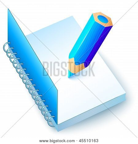 Blue vector notebook with colored pencil