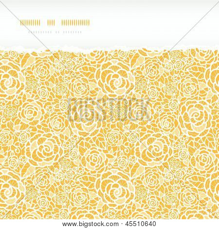 Golden lace roses torn horizontal seamless pattern background