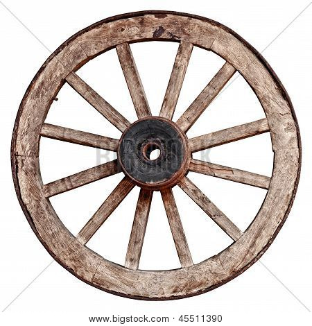 Old Wooden Wagon Wheel On White Background