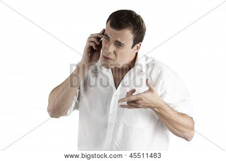 businessman makes a difficult phone call