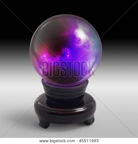 Crystal Ball On Stand In Light Back