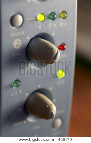 Macro Shot Of A Mixing Board