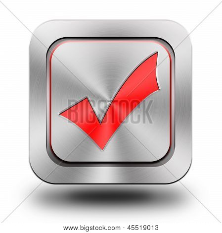Validation, aluminum glossy icon, button, sign