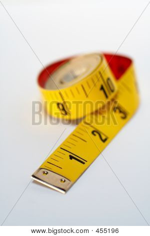 Yellow Tape Measure Macro, Isolated On White Background