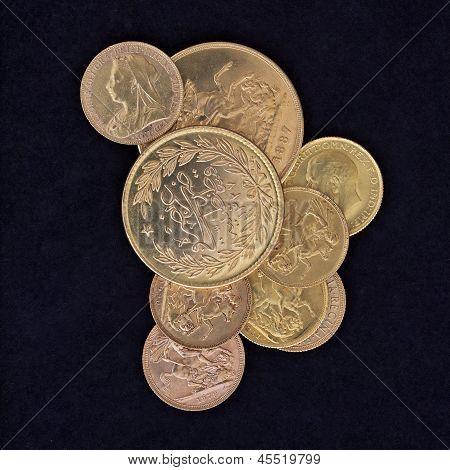 old golden coins closeup