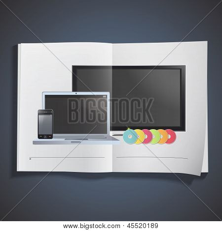 Set Of Tv, Computer, Cd And Phone Inside A Book. Vector Design.