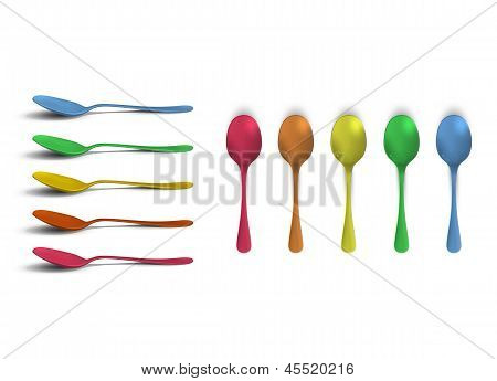 Collection Of Colorful Spoons. Vector Design.