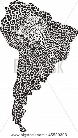 Jaguar en el mapa de América del sur