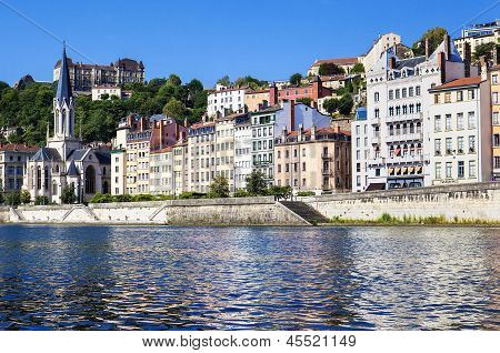 Vieux Lyon With Saone River