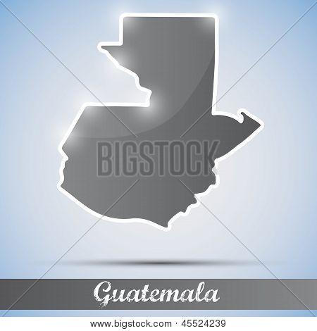 ícone brilhante em forma de Guatemala