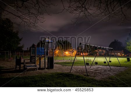 Eerie Children's Playground At Night