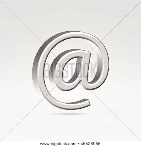 Silver Shining Metallic Email Symbol