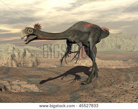 Gigantoraptor Dinosaur In The Desert - 3D Render