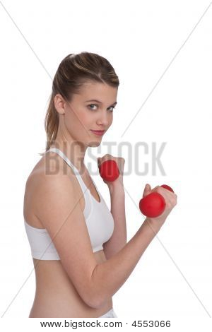 Blond Girl Exercising With Red Weights
