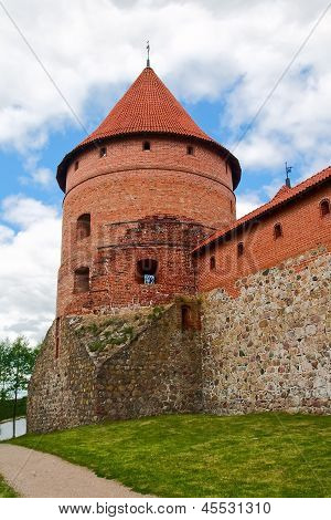 Brick Tower Of The Castle In Trakai