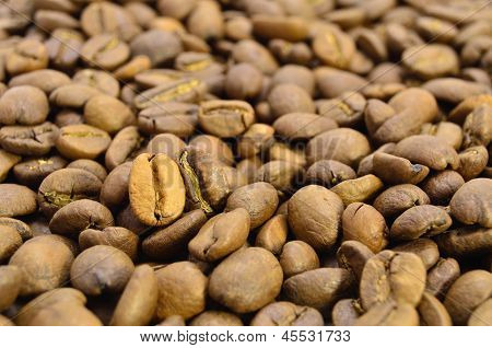 Dark And Golden Coffee Beans