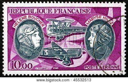 Postage Stamp France 1972 Helene Boucher And Maryse Hilsz