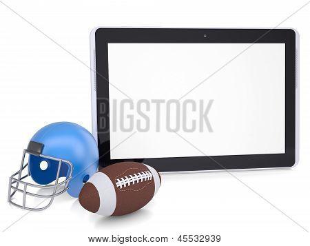 Tablet PC, football helmet and ball