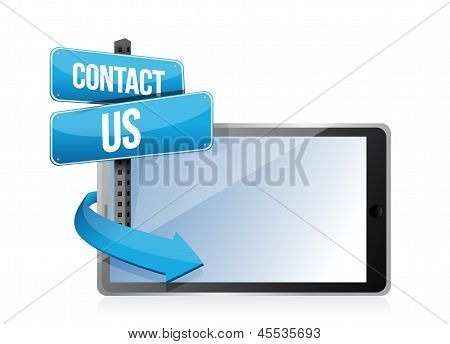 Contact Us Sign And Tablet