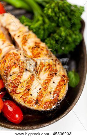 Filete de salmón. Macro