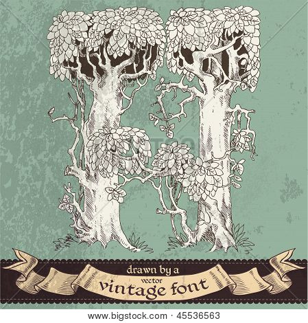 Magic grunge forest hand drawn by a vintage font - H
