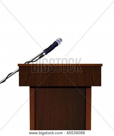 Seminar speech podium and microphone