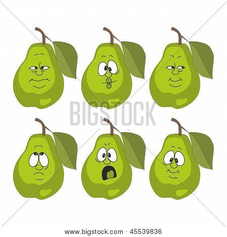 Emotion cartoon green pear