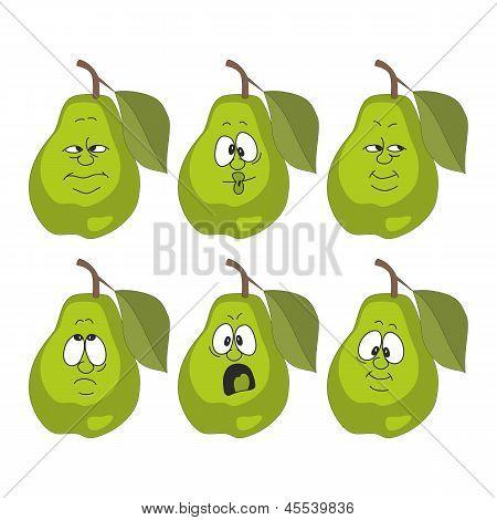 Emotion cartoon green pear