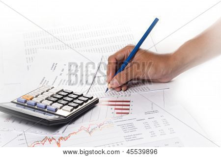 Human hands working with calculator, on white
