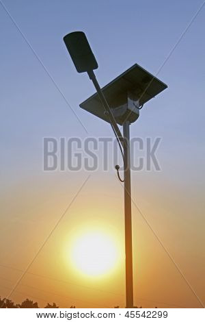 Street Light and solar panel, India